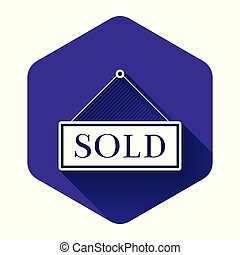 White Sold icon isolated with long shadow. Sold sticker. Sold signboard. Purple hexagon button. Vector Illustration