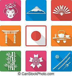 white solid flat style japan icons set - vector white color...