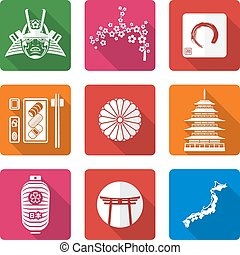 white solid flat style japanese icons set - vector white...