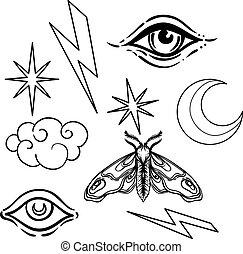 white., sorcellerie, éclair, set., illustration, étoile,...