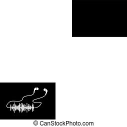 White sound wave with headphones on black bacgrounds. Vector t-shirt or poster design.