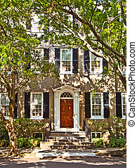 White Southern Mansion - Southern Mansion with scenic tree...