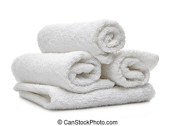 white spa towels on a white background