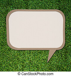 White space for text talk quote on Green grass background