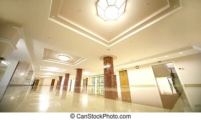 White spacious hall of Moscow State University Scientific...