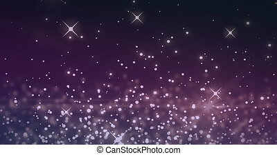 White sparkles and glowing spots moving against purple ...