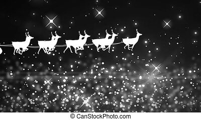 White sparkles and glowing spots moving against Santa Claus ...