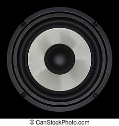 White speaker isolated on black background