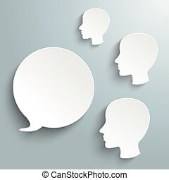 White Speech Bubble 3 Human Heads