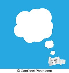 white speech bubble icon on a blue background