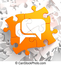 White Speech Bubble Icon on Orange Puzzle. Communication...