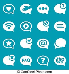 White speech bubble icons set for web and mobile application