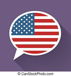 White speech bubble with American flag on purple background.