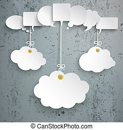 White Speech Bubbles 3 Hanging Clouds Concrete
