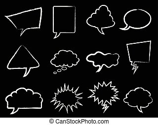 white speech bubbles outline on black background