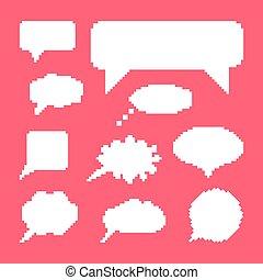 white speech bubbles set on pink background