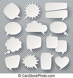 White speech bubbles. Thought text bubble symbols, origami bubbly speech shapes. Retro comic dialog clouds vector set