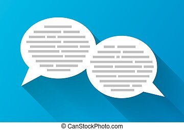 White speech bubbles with grey abstract text