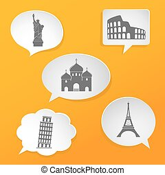White speech bubbles with landmarks icons