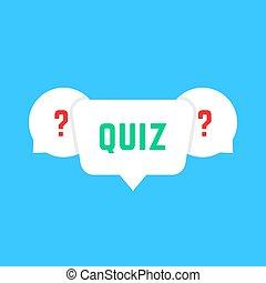 white speech bubbles with quiz. concept of solution survey,...