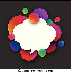 White speech cloud with colour bubbles on grey.