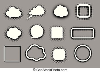 White speech clouds and frames on grey.