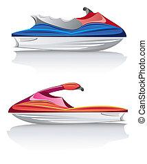 white speed yacht vector illustration