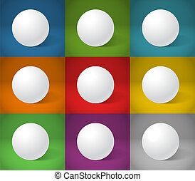 White sphere on different color backgrounds