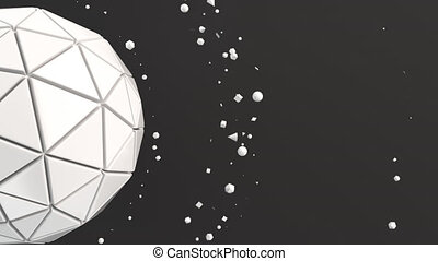 White sphere on the black surface