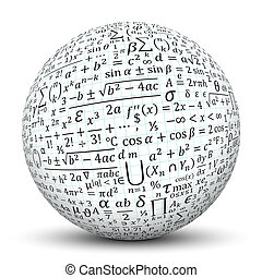 White Sphere with Math Symbol Texture - 3D White Sphere with...