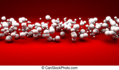 White spheres against red background