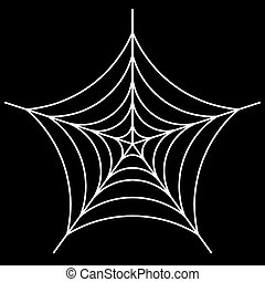 white spider web - Cobweb vector  on black background - illustration