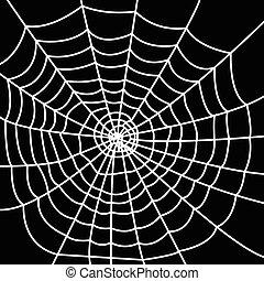 White spider web on dark background. . Vector illustration
