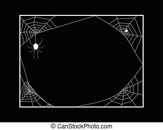 Spiders Web Frame on Black Background