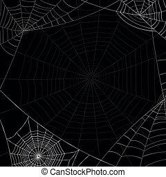 White spiderweb and shadow spiderweb on black background. - ...