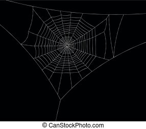 White spiderweb without spiders on black background. Vector ...