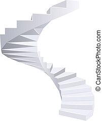 Spiral staircase. - White Spiral staircase. Vector...