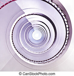 White spiral staircase.