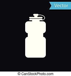White Sport bottle with water icon isolated on black background. Vector Illustration
