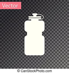 White Sport bottle with water icon isolated on transparent background. Vector Illustration