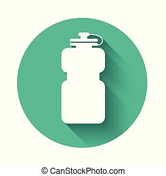 White Sport bottle with water icon isolated with long shadow. Green circle button. Vector Illustration
