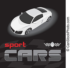 White sport car. Icon for design