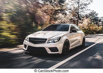 White sport sedan on the forest road