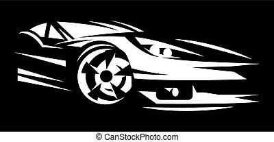 White sportcar. Element for design. Illustration on black ...