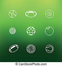 White sports icons clip-art on color background