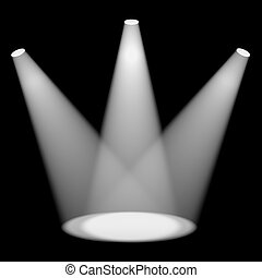 White Spotlights Shining On Stage For Highlighting Products