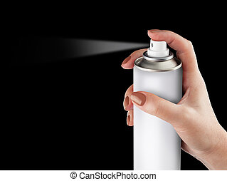 White spray can isolated on black background on woman hand, Aero