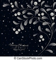 White sprig with berries on dark background