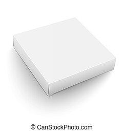 White square box template. - Blank flat square box template...