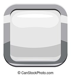 White square button icon, cartoon style
